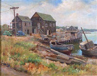 the fishing houses on glocester harbor by antonio scilipoti