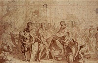 a king welcoming a roman general by antoine dieu