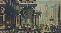 a palace arcade with numerous elegant figures conversing and playing games by dirck van delen