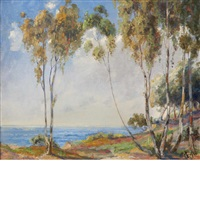 trees on the shore by henry leopold richter