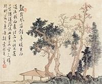 长亭晚 镜心 纸本 by pu ru