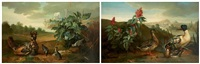 poule de houdan et ses petits dans un paysage et canard et sa canne dans un paysage (collab. w/studio)(2 works) by jean-baptiste oudry