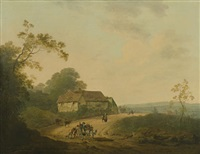 an extensive landscape with travellers on a road by julius caesar ibbetson and john rathbone