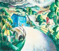 landskap från hallandsås (det blå huset) by albert abbe