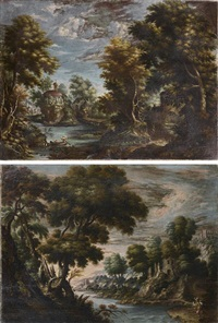 paysages lacustres (pair) by paul bril