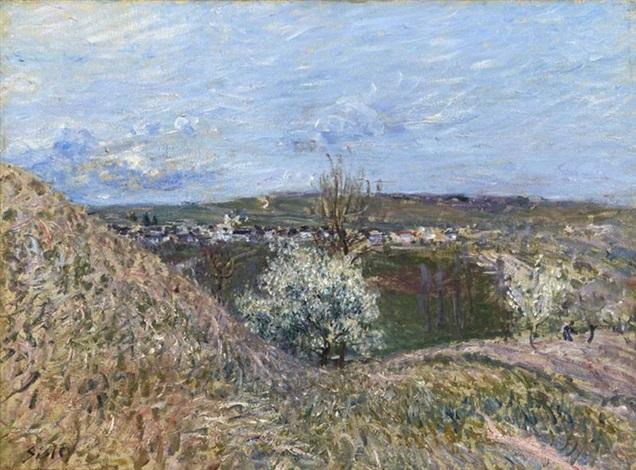 vue des hauteurs de saint mammes effet de printemps by alfred sisley