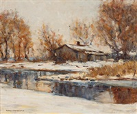 river in winter by manly edward macdonald