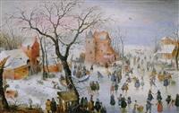 paisage de invierno con patinadores by barent avercamp