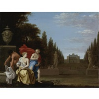three figures by a fountain, a princely residence and park beyond by toussaint gelton
