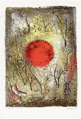 紅太陽 (the red sun) by zao wou-ki