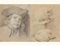 tête d'enfant au bicorne (+ deux études de chats, verso) by louis aubert