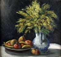 huile sur toile nature morte aux mimosas et fruits by georges hanna sabbagh