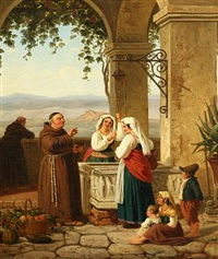 italian landscape with women and monks by the well by peter (johann p.) raadsig