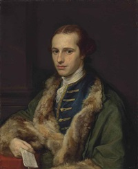 portrait of the rev. thomas kerrich (1748-1828), in an embroidered blue waistcoat and fur-lined green coat, holding a letter in his right hand... by pompeo girolamo batoni