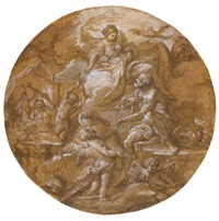 venus at the forge of vulcan (+ a putto and a bird; verso) by sebastiano conca