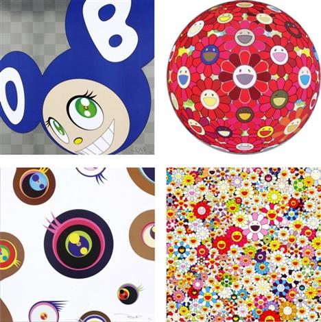 and then and then and then and then and then (blue)/ flower ball (3-d) red cliff/ jellyfish eyes - white1/ flowers in heaven (set of 4) by takashi murakami