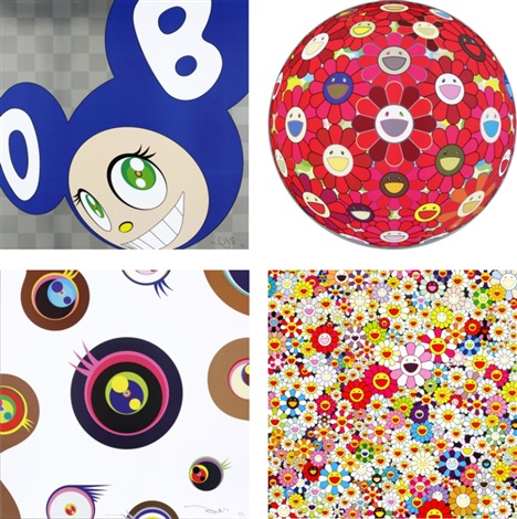 and then and then and then and then and then blue flower ball 3 d red cliff jellyfish eyes white1 flowers in heaven set of 4 by takashi murakami