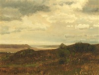scenery with heathery hills at mols by janus andreas barthotin la cour