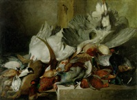 dead game and other birds in a larder by w. oakes