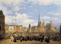 vue de la place du marché de gant avec la statue de jacob van artevelde by françois jean louis boulanger