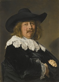 portrait of a gentleman, half-length in black with lace collar and cuffs, and wearing a broad-brimmed black hat by frans hals the elder