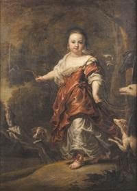 portrait de jeune fille en diane chasseresse by jan van noordt