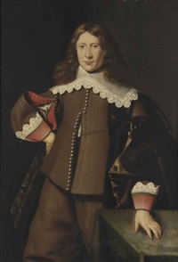 portrait of a gentleman, three-quarter-length, in a brown costume with red cuffs and a white lace collar, his left hand on a table by dirck dircksz van santvoort