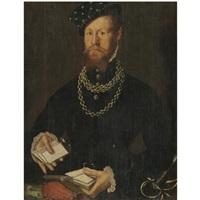 portrait of a gentleman, half length, wearing black and holding a pack of cards by steven van der meulen