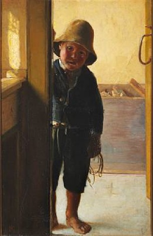 a fisherman's son looking through a doorway by michael peter ancher