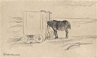 badekarren und pferd am strand von noordwijk by max liebermann