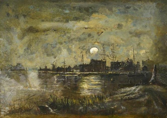 clair de lune sur un canal hollande by johan barthold jongkind