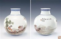 粉彩麻姑献寿题诗瓶 (a fine and rare famille-rose vase with mushroom lady and poems) by liu xiren