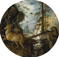 a lion hunting two deer by roelandt savery
