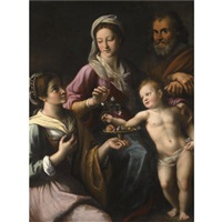 the holy family with saint dorothea by fabrizio santafede