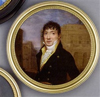 a gentleman standing in a street with buildings beyond, in black coat with gold buttons, yellow waistcoat and frilled cravat, forward combed dark hair by henri lévêque