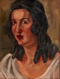 portrait de femme ou le modèle by andré favory
