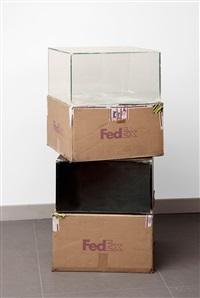 fedex ® medium kraft boxes, priority overnight, los angeles-new york trk#864049582968 & 795506877964, new-york-los angeles trk# lost, oostende-paris trk#803074770903 by walead beshty