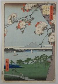 série des 100 vues célèbres d'edo. planche 35 - sumidagawa suijin no mori massaki. la forêt du sanctuaire suijin et la région de massaki le long de la rivière sumida-gawa by ando hiroshige