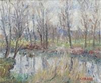 peupliers en bord de rivière by louis françois cabanes
