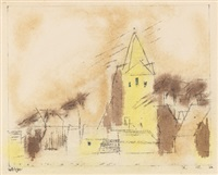 gelbe dorfkirche by lyonel feininger
