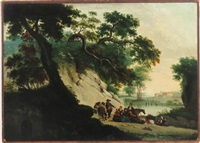 landscape with several travelers by continental school (17)
