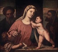 die kirschenmadonna mit dem hl. josef und dem hl. zacharias (attrib. to girolamo da santacroce) by titian (tiziano vecelli)