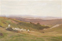 exmoor landscape with sheep by james aumonier