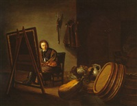 an artist in his studio by pieter van den bos