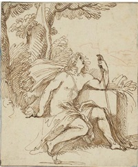 john the baptist, in profile to the right, seated in a landscape by giovanni luigi (valesi) valesio