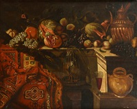 nature morte aux fruits, cage à perdrix et tapis d'orient by francesco fieravino (il maltese)