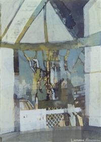 studio window, moonlight by leonard rosoman