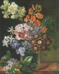 vase de fleurs sur un entablement by armand louis achintre