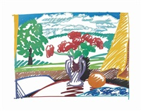 country still life with yellow curtain by tom wesselmann