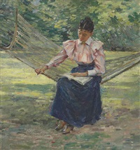 girl in hammock by theodore robinson
